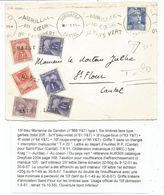 GANDON 15FR BLEU SEUL LETTRE AURILLAC 1951 POUR ST FLOUR TAXE 1FRX3+3FR+4FR+10FR ANNULATION GRIFFE SAINT FLOUR - 1945-54 Marianne Of Gandon