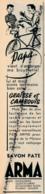 Ancienne Publicité (1957) : SAVON PATE ARMA, Nettoyage Des Mains, Bicyclette, Cambouis, Graisse, Droguerie.. - Werbung