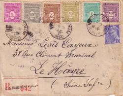 PUY DE DOME - CLERMONT FERRAND - LETTRE RECOMMANDEE - ARC DE TRIOMPHE - BEL AFFRANCHISSEMENT EN 1944. - Posttarieven