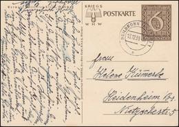 Sonderpostkarte P 287 Kriegs-WHW: Danzig Ist Deutsch, Gelaufen HEILBRONN 1939 - Ganzsachen
