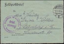 Feldpostbrief Briefstempel Station Warschau Vorbahnhof 4.11.17 Nach Oldenburg - Occupation 1914-18