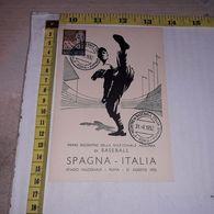 PL10535 PRIMO INCONTRO DELLA NAZIONALE AZZURRA DI BASEBALL SPAGNA ITALIA STADIO NAZIONALE ROMA AGOSTO 1952 - Baseball