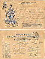 GUERRE 14-18 CARTE F.M. ILLUSTRÉE YSER FUSILIER-MARIN TàD TRESOR ET POSTES 8-11-18  *3 Jours Avant La Fin De La Guerre * - Postmark Collection (Covers)
