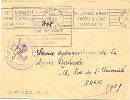 POSTE NAVALE TRANSPORT PETROLIER VAR OFFICIEL N° 707 * MARINE NATIONALE * OMec RBV BREST FINISTERE Du 28-4-1956 - Poste Navale