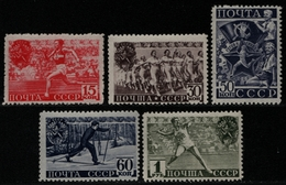 Russia / Sowjetunion 1940 - Mi-Nr. 753-757 A ** - MNH - Sport (I) - 1923-1991 USSR