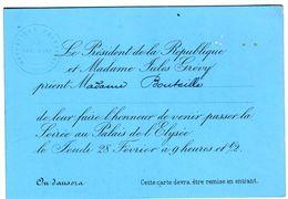 Carton D' Invitation Du Président De La République Jules GREVY Au Madame BOUTEILLE Au Palais De L' Elysée - Historical Documents