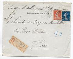 1914 - FINISTERE - ENVELOPPE RECOMMANDEE De DOUARNENEZ => PARIS - BELLES NUANCES SEMEUSES - Marcophilie (Lettres)