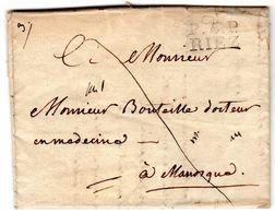 Lettre P5P RIEZ  1825 Envoyée De MOUSTIERS à MANOSQUE Au Dr BOUTEILLE - 1801-1848: Précurseurs XIX
