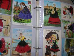 ! Lot énorme ! 140 Cpsm/cpm Carte Fantaisie France Et Espagne Brodée Fil De Soie Et Tissus Dans Un Album - 100 - 499 Cartes