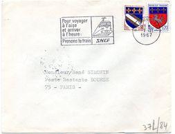RHONE - Dépt N° 69 = LYON GARE 1967 = FLAMME SECAP Illustrée ' Prenons Train SNCF / Pour Voyager à L'aise ' - Postmark Collection (Covers)