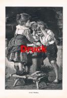 1863 U. Röstel Großer Waschtag Kinder Druck 1899 !! - Estampes