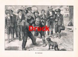 1865 Th. Kleehaas Zweikampf Kinder Hund Rauferei Druck 1898 !! - Estampes