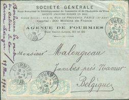 N°111(5) - 5 CentimesBLANC(2 Paires + 1ex.) Obl. DcFOURMIES (NORD)sur Lettre Du 19-5 1905 Vers Jambes. Belles Frappe - 1900-29 Blanc