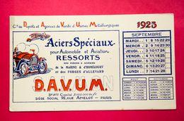 Buvard DAVUM 1925, Aciers Pour Automobile Et Aviation, Marine, Homécourt, Forges D'Allevart - Automobile
