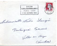 RHONE - Dépt N° 69 = LYON GARE 1963 = FLAMME Non Codée = SECAP ' SICOB / SALON EQUIPEMENT BUREAU / PARIS CNIT' - Postmark Collection (Covers)