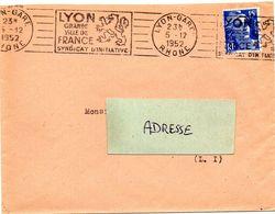 RHONE - Dépt N° 69 = LYON GARE 1952 = FLAMME RBV  Illustrée D'un LION HERALDIQUE ' GRANDE VILLE ' - Postmark Collection (Covers)