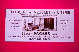 Buvard Fabrique De MEUBLES Et LITERIE, Jean Paquis Ébéniste à Bar-Le-Duc - Buvards, Protège-cahiers Illustrés