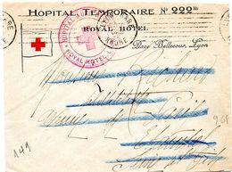 RHONE - Dépt N° 69 = LYON GARE 1916 = FLAMME KRAG Muette '7 Lignes DROITES Inégales' + HOPITAL TEMPORAIRE 222 BIS - Marcophilie (Lettres)