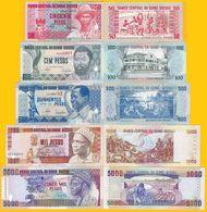 Guinea Bissau Set 50, 100, 500, 1000, 5000 Pesos 1990-1993 UNC Banknotes - Guinea-Bissau