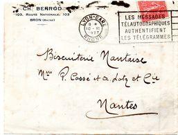 RHONE - Dépt N° 69 = LYON GARE  1927 = FLAMME FLIER  'LES MESSAGES TELAUTOGRAPHIQUES AUTHENTIFIENT LES TELEGRAMMES ' - Postmark Collection (Covers)