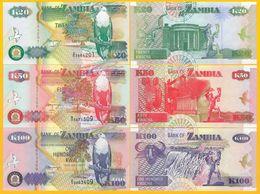 Zambia Set 20, 50, 100 Kwacha 1992 UNC Banknote - Zambie