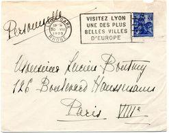 RHONE - Dépt N° 69 = LYON GARE 1929 = FLAMME FLIER 'VISITEZ  UNE DES PLUS / BELLES VILLES / D' EUROPE ' - Postmark Collection (Covers)