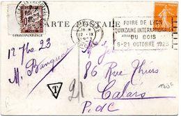 RHONE - Dépt N° 69 = LYON GARE 1923 = FLAMME FLIER ' FOIRE / QUINZAINE Du BOIS ' + TAXE - Postmark Collection (Covers)