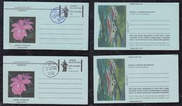 Costa Rica 1980 2x Aerogramme Stationery Orchid Flower Blue And Black Postmark - Costa Rica