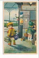 Carte Illustrateur Non Signé Enfant En Attente De Train Dans Gare ( Italie Aoste Milan Roma ) ( Recto Verso ) - Illustrateurs & Photographes