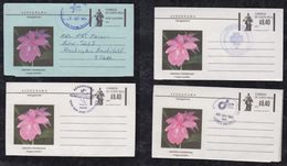 Costa Rica 1980 + 1983  4 Aerogramme Stationery Special Postmark Orchid Flower - Costa Rica