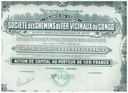 Action Uncirculed - Société Des Chemins De Fer Vicinaux Du Congo - Titre De 1932 - Chemin De Fer & Tramway
