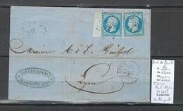 France - Lettre Yvert 14 - SAINT LOUIS - Haut Rhin   - PC 3725 - BORD DE FEUILLE -1858 - Poststempel (Briefe)