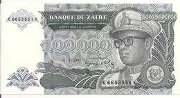 ZAIRE 100000 ZAIRES 1992 UNC P 41 - Zaire