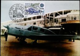 Avion  CAUDRON SIMOUN Aviation Postale  - Carte Maximum Card (Paris-Strasbourg CEPT) 1979 - Aerodromes