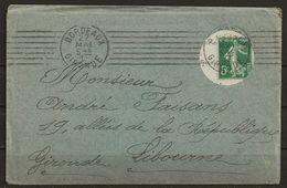 1913. L. N° YT 137 Sur Lettre Avec Orifice Pr Timbre, Obl. BORDEAUX (gironde) 27-mai-13, Pour LIBOURNE (gironde), TB - Poststempel (Briefe)