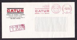 Portugal: Airmail Cover, 1986, Meter Cancel, Catur Travel & Tourism Agency (traces Of Use) - 1910-... République