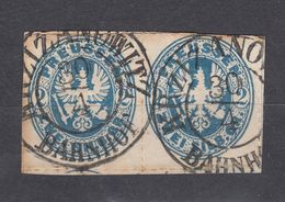 Preussen, 2 Sgr., MiNr. 17b, Schönes Paar Auf Briefstück - Prussia