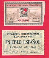 Exposicion Internacional De Barcelona 1929 Billete De Entrada Y Entrada General Pueblo Espanol - Eintrittskarten