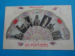 """86 ) Souvenir De Poitiers N° 15 """" éventail """" Multivus - Année 1906 : EDIT : Robuchon - Poitiers"""
