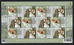 """2020 POLONIA / POLAND """"CENTENARIO NASCITA PAPA GIOVANNI PAOLO II - POPE JOHN PAUL II"""" MF MNH - Nuovi"""