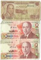 Banque Du Maroc + Bank Al-Magrib. Lot De 3 Billets De 10 Dirhams. - Maroc