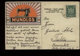 S6281 - DR Adler Werbepostkarte Mundlos Nähmaschine : Gebraucht Bischofsheim - Fulda 1925, Bedarfserhaltung. - Deutschland