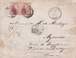 Belgique - COB 12 En Paire Horiz Sur Pli De Verviers à Agonac (Dordogne) 11 Juin 1860 - 1858-1862 Medaillons (9/12)