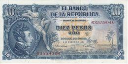BILLETE DE COLOMBIA DE 10 PESOS DE ORO DEL AÑO 1961 EN CALIDAD EBC (XF) (BANK NOTE) - Colombia