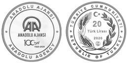 AC - CENTENARY OF ANADOLU / ANATOLIAN AGENCYAA 06 APRIL 1920 - 2020 COMMEMORATIVE SILVER COIN PROOF UNCIRCULATED TURKEY - Turquia