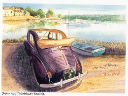 Renault 4CV Découvrable  En Bretagne   - Aquarelle Par Jean-Luc Marsaud - Carte Postale Moderne - Toerisme