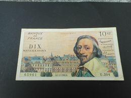 Billet De 10 Nouveaux Francs Richelieu 01/02/1962 état TTB - 1959-1966 Francos Nuevos