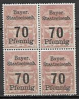 BAVIERE   -   FISCAUX    -   Le 70 Pfennig  **  En Bloc De 4. - Bavaria
