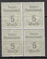 BAVIERE   -   FISCAUX   -    Le  5 Mark  En Bloc De 4.  (*) - Bavaria