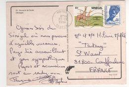 """Timbre , Stamp """" Réserve De Guembeul , Girafe """" Sur Cp , Carte ( Gorée ) , Postcard Du 22/10/90 - Senegal (1960-...)"""